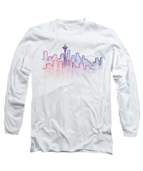 Seattle Skyline Watercolor Long Sleeve T-Shirt