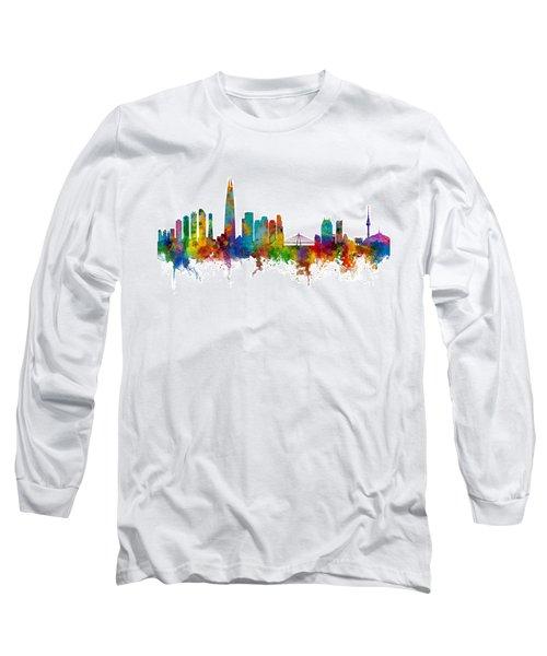 Long Sleeve T-Shirt featuring the photograph Seoul Skyline South Korea by Michael Tompsett