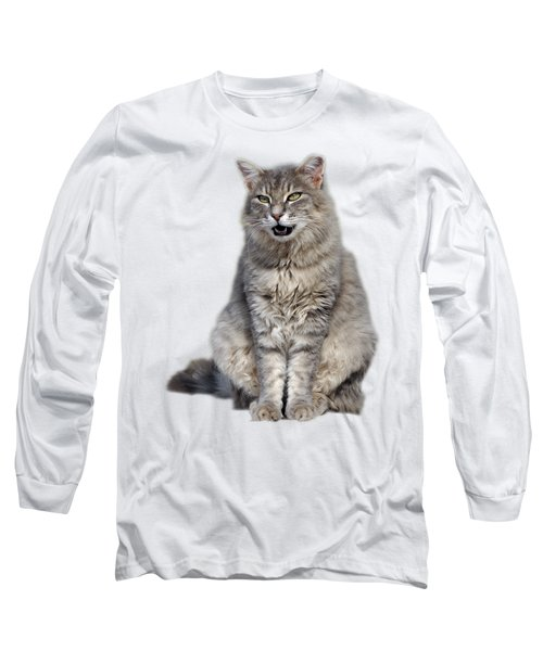 Long Sleeve T-Shirt featuring the photograph Sitting Cat by George Atsametakis