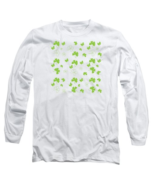 St. Patrick's Four Leaf Clover Background Long Sleeve T-Shirt by Serena King