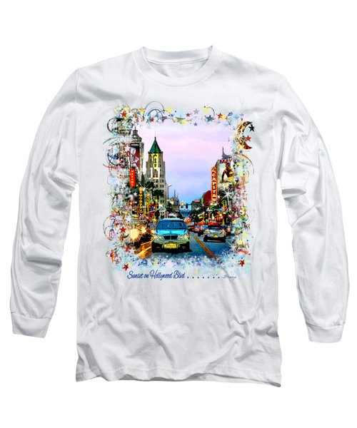 Sunset On Hollywood Blvd Long Sleeve T-Shirt by Jennie Breeze