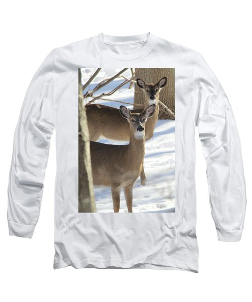 White Tailed Deer Smithtown New York Long Sleeve T-Shirt by Bob Savage