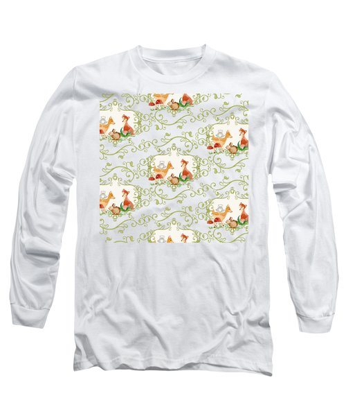 Woodland Fairytale - Animals Deer Owl Fox Bunny N Mushrooms Long Sleeve T-Shirt by Audrey Jeanne Roberts