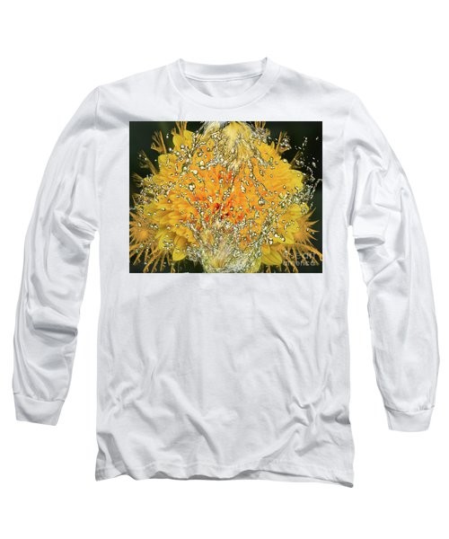 Yellow Dahlia Long Sleeve T-Shirt by Elvira Ladocki