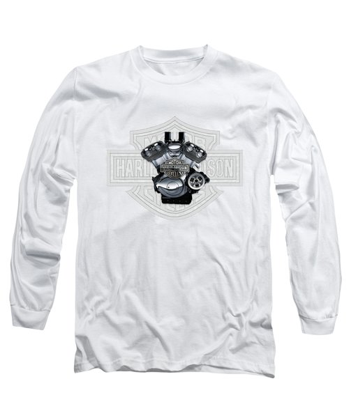 Long Sleeve T-Shirt featuring the digital art 2002 Harley-davidson Revolution Engine With 3d Badge  by Serge Averbukh