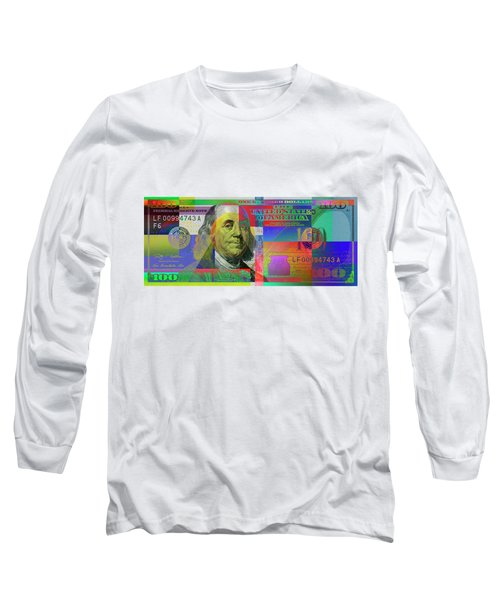 2009 Series Pop Art Colorized U. S. One Hundred Dollar Bill No. 1 Long Sleeve T-Shirt
