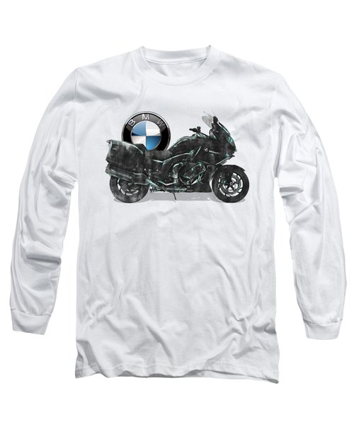 Long Sleeve T-Shirt featuring the digital art 2016 Bmw-k1600gt Motorcycle With 3d Badge Over Vintage Blueprint  by Serge Averbukh