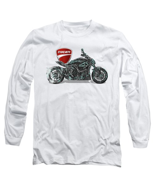 Long Sleeve T-Shirt featuring the digital art 2017 Ducati Xdiavel-s Motorcycle With 3d Badge Over Vintage Blueprint  by Serge Averbukh