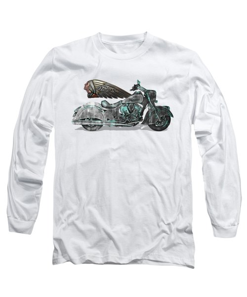 Long Sleeve T-Shirt featuring the digital art 2017 Indian Chief Classic Motorcycle With 3d Badge Over Vintage Blueprint  by Serge Averbukh