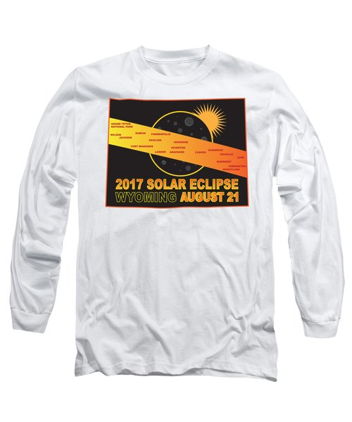 2017 Solar Eclipse Across Wyoming Cities Map Illustration Long Sleeve T-Shirt