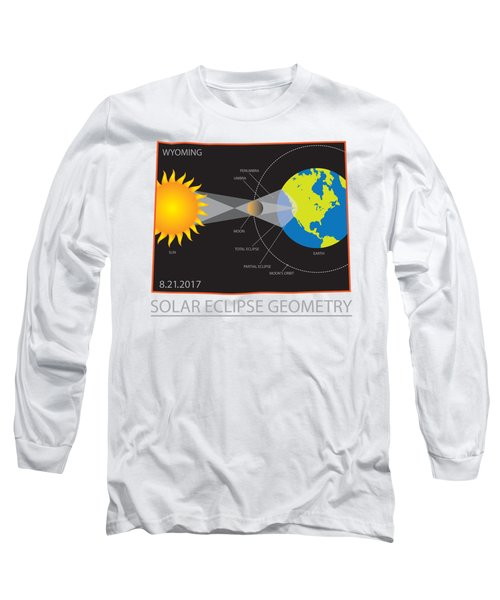 2017 Solar Eclipse Geometry Wyoming State Map Illustration Long Sleeve T-Shirt