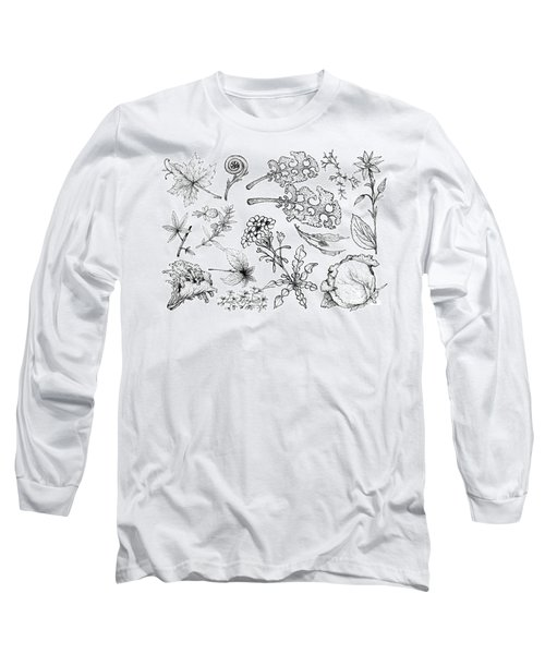 Hand Drawn Of Leafy And Salad Vegetable Long Sleeve T-Shirt