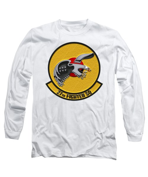 27th Fighter Squadron - 27 Fs Patch Over White Leather Long Sleeve T-Shirt by Serge Averbukh