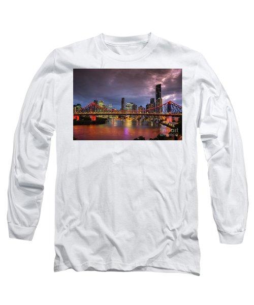 Brisbane City Skyline After Dark Long Sleeve T-Shirt