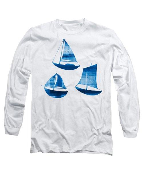 3 Little Blue Sailing Boats Long Sleeve T-Shirt by Frank Tschakert