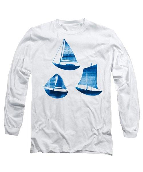 3 Little Blue Sailing Boats Long Sleeve T-Shirt