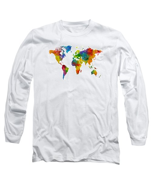 Map Of The World Map Watercolor Long Sleeve T-Shirt by Michael Tompsett