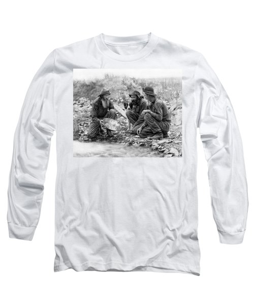 3 Men And A Dog Panning For Gold C. 1889 Long Sleeve T-Shirt
