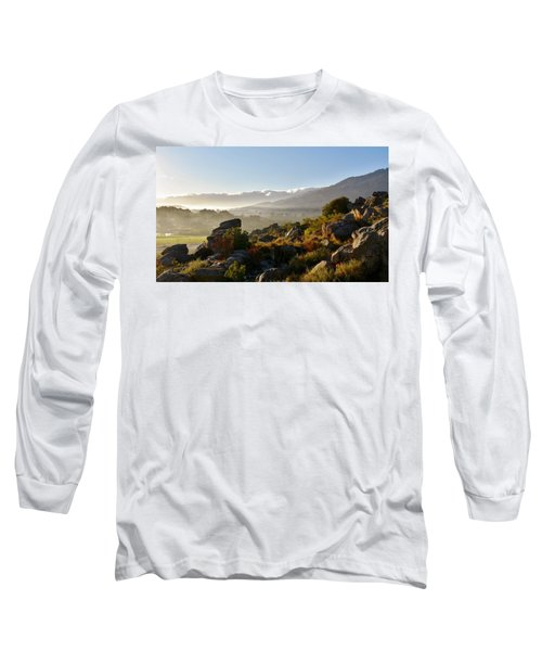 morning fog over Ceres Long Sleeve T-Shirt by Werner Lehmann