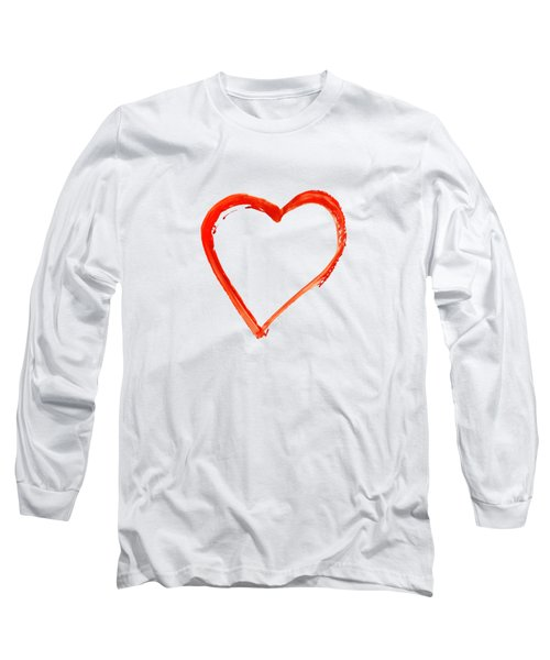 Long Sleeve T-Shirt featuring the drawing Painted Heart - Symbol Of Love by Michal Boubin