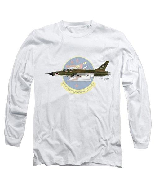 Republic F-105g Wild Weasel 17ww Long Sleeve T-Shirt by Arthur Eggers
