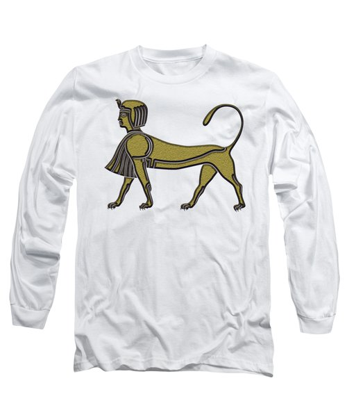 Long Sleeve T-Shirt featuring the digital art Sphinx - Mythical Creature Of Ancient Egypt by Michal Boubin