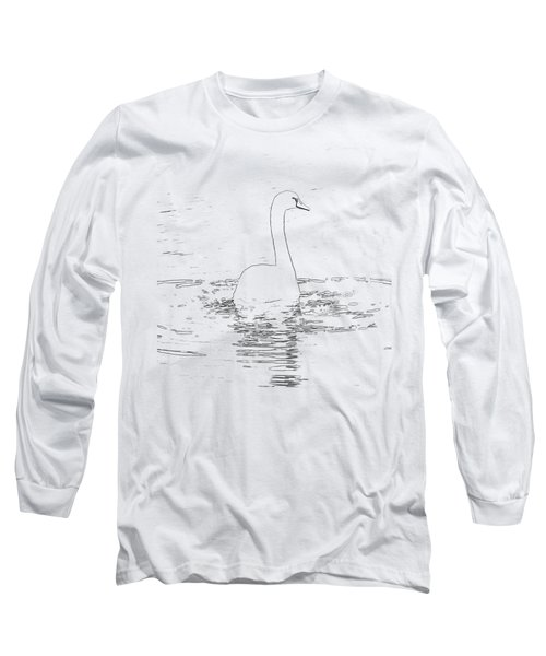 White Swan Swimming  Long Sleeve T-Shirt by Humorous Quotes