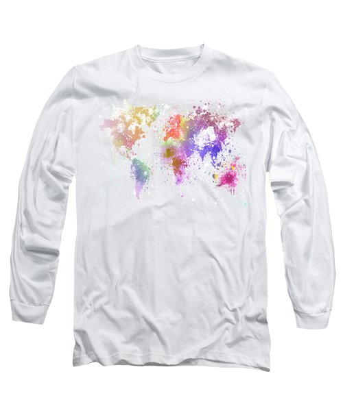 Long Sleeve T-Shirt featuring the painting World Map Painting by Setsiri Silapasuwanchai