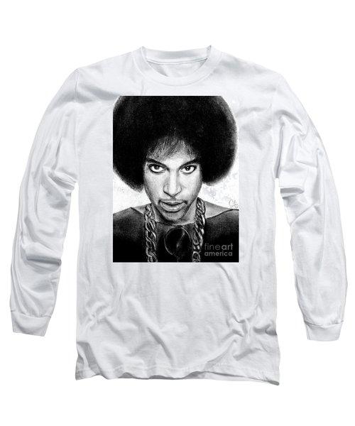 3rd Eye Girl - Prince Charcoal Portrait Drawing - Ai P Nilson Long Sleeve T-Shirt