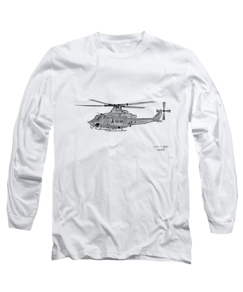 Long Sleeve T-Shirt featuring the digital art Bell Helicopter Uh-1y Venom by Arthur Eggers