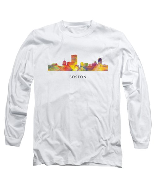 Boston Massachusetts Skyline Long Sleeve T-Shirt by Marlene Watson