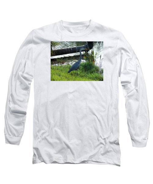 Great Blue Heron Long Sleeve T-Shirt by Kay Gilley