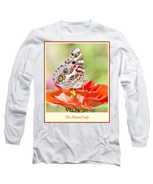 Painted Lady Butterfly On Zinnia Flower Long Sleeve T-Shirt