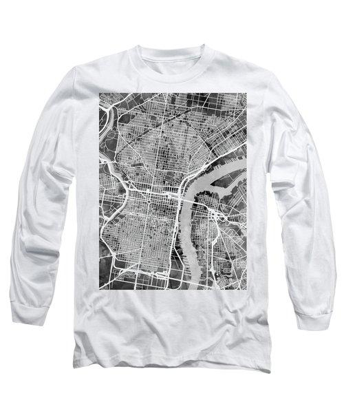 Philadelphia Pennsylvania Street Map Long Sleeve T-Shirt