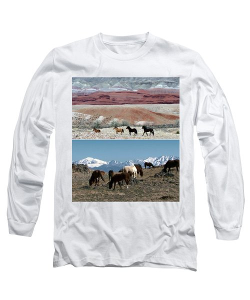 Twin Photos Awesome North American Mustangs Horses Cowboys Photography See On Posters Pillows Curtai Long Sleeve T-Shirt