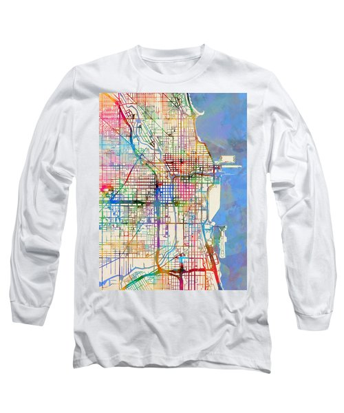 Chicago City Street Map Long Sleeve T-Shirt