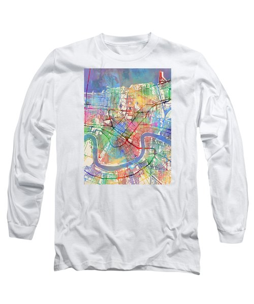New Orleans Street Map Long Sleeve T-Shirt