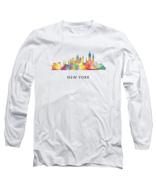 New York Skyline Long Sleeve T-Shirt by Marlene Watson