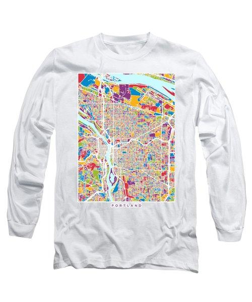 Portland Oregon City Map Long Sleeve T-Shirt