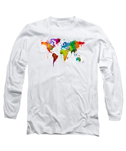 Watercolor Map Of The World Map Long Sleeve T-Shirt