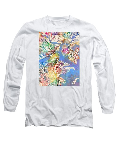 Boston Massachusetts Street Map Long Sleeve T-Shirt by Michael Tompsett