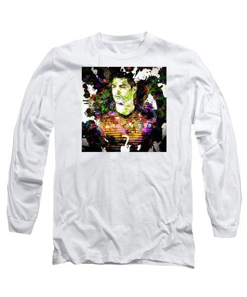Long Sleeve T-Shirt featuring the mixed media Cristiano Ronaldo by Svelby Art