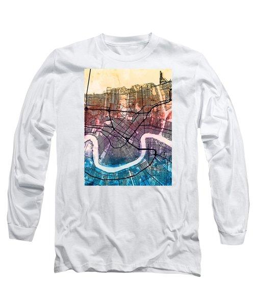 New Orleans Street Map Long Sleeve T-Shirt by Michael Tompsett