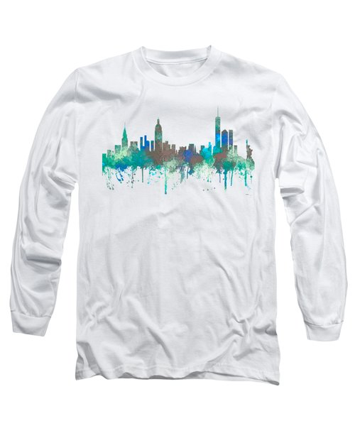 Long Sleeve T-Shirt featuring the digital art New York Ny Skyline by Marlene Watson