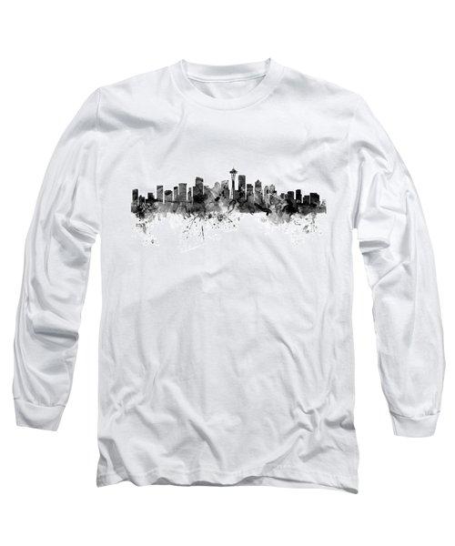 Seattle Washington Skyline Long Sleeve T-Shirt by Michael Tompsett