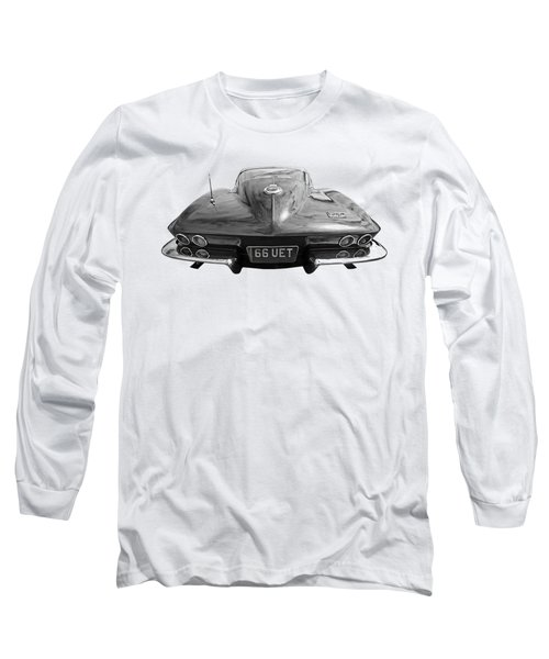 Long Sleeve T-Shirt featuring the photograph 66 Corvette Rear Black And White by Gill Billington
