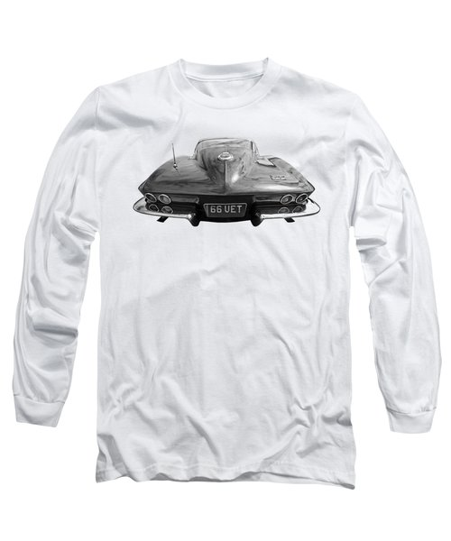 66 Corvette Rear Black And White Long Sleeve T-Shirt