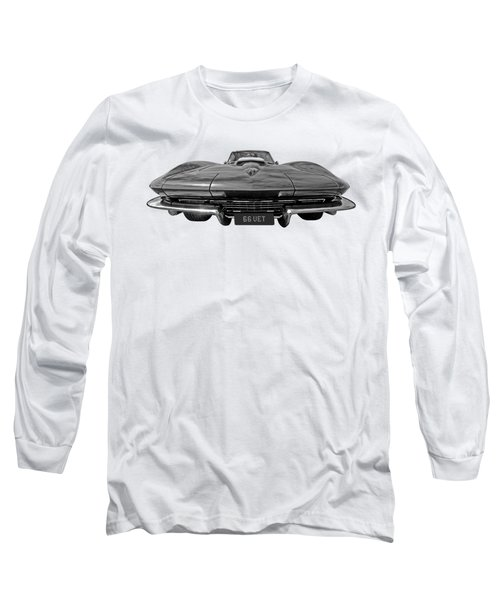 66 Vette Stingray In Black And White Long Sleeve T-Shirt
