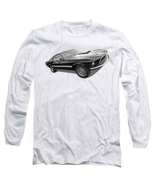 69 Mach1 In Black And White Long Sleeve T-Shirt by Gill Billington