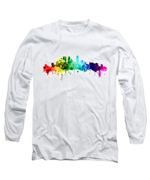 Minneapolis Minnesota Skyline Long Sleeve T-Shirt by Michael Tompsett